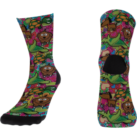 Calcetines Doppio Slavo Dogs & Turtles & Love